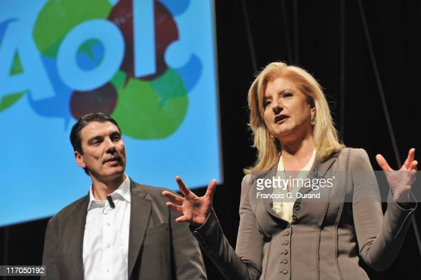 CEO of AOL Tim Armstrong and Arianna Huffington attend the 'AOL Seminar' as part of Cannes Lions 58th International Festival of Creativity at Palais...