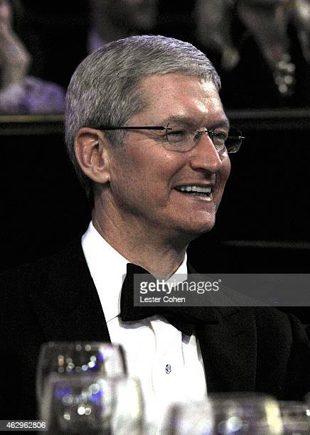 CEO of Apple Inc Tim Cook attends the PreGRAMMY Gala and Salute to Industry Icons honoring Martin Bandier at The Beverly Hilton Hotel on February 7...