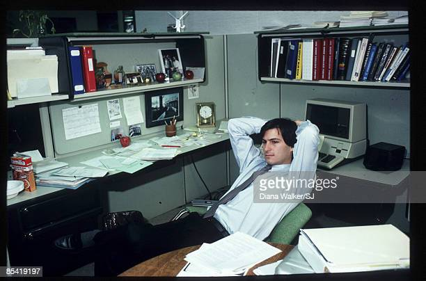 """Of Apple Steve Jobs sits with the """"Lisa"""" Computer on December 15, 1982. IMAGE PREVIOUSLY A TIME & LIFE IMAGE."""