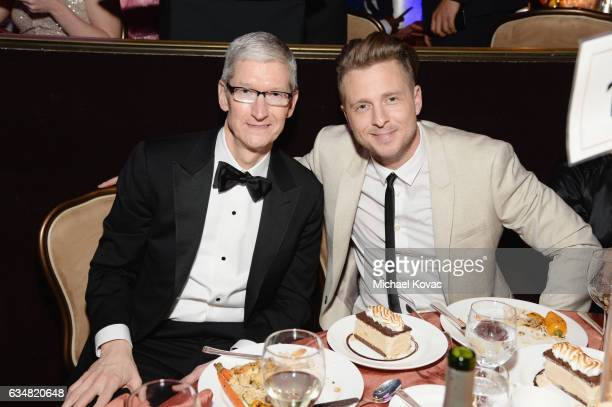 CEO of Apple Tim Cook and recording artist Ryan Tedder of music group OneRepublic attend PreGRAMMY Gala and Salute to Industry Icons Honoring Debra...