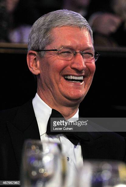 CEO of Apple Tim Cook attends the PreGRAMMY Gala and Salute to Industry Icons honoring Martin Bandier at The Beverly Hilton Hotel on February 7 2015...