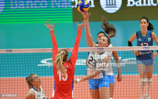 of Argentina against JOVANA STEVANOVIC of Serbia during FIVB Volleyball Nations League match between Argentina and Serbia at the stadium of the...