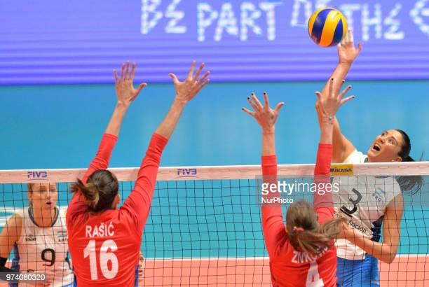of Argentina against MILENA RASIC and BOJANA ZIVKOVIC of Serbia during FIVB Volleyball Nations League match between Argentina and Serbia at the...