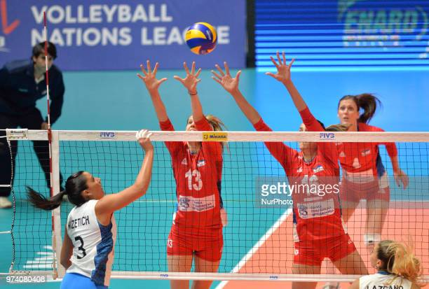 of Argentina in action against ANA BJELICA and MILENA RASIC of Serbia during FIVB Volleyball Nations League match between Argentina and Serbia at the...