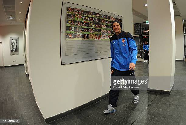 of Arsenal's Nicklas Bendnter arrives in the players entrance before the match at Emirates Stadium on January 24 2014 in London England