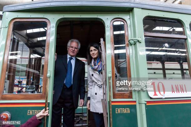 CEO of ATAC Manuel Fantasia and Mayor of Rome Virginia Raggi attend the campaign dedicated to the theme 'don't be recognized pay the ticket' at the...