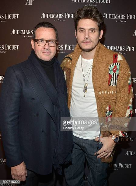 CEO of Audemars Piguet FrancoisHenry Bennahmias and musician John Mayer attend the Opening of Audemars Piguet Rodeo Drive at Audemars Piguet on...