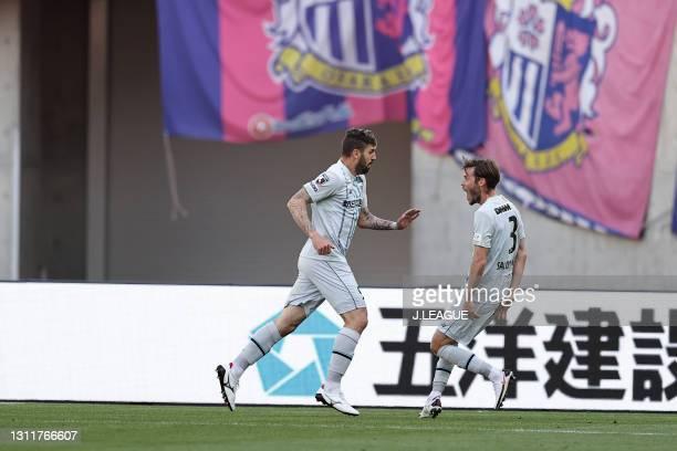Of Avispa Fukuoka celebrates scoring his side's second goal during the J.League Meiji Yasuda J1 match between Cerezo Osaka and Avispa Fukuoka at...