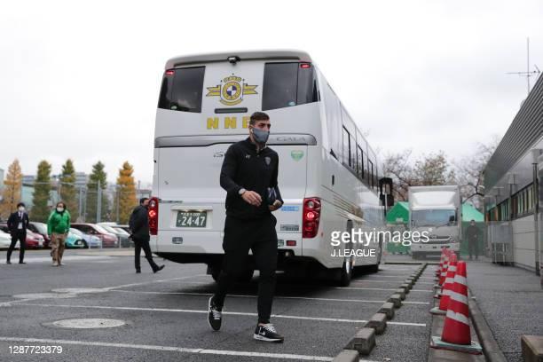 Of Avispa Fukuoka is seen on arrival at the stadium prior to the J.League Meiji Yasuda J2 match between Tokyo Verdy and Avispa Fukuoka at Ajinomoto...