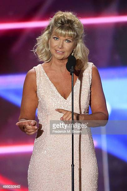 CEO of BAFTA LA Chantal Rickards speaks onstage during the 2015 Jaguar Land Rover British Academy Britannia Awards presented by American Airlines at...