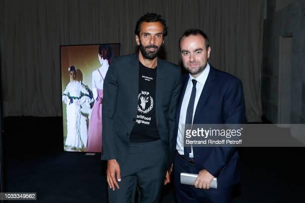 CEO of Balenciaga Cedric Charbit and politician Sebastien Lecornu attend the Kering Heritage Days Opening Night at 40 Rue de Sevres on September 14...