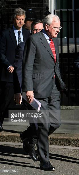CEO of Barclays Bank John Varley leaves Downing Street with other leading bankers following talks with the British Prime Minister Gordon Brown on...