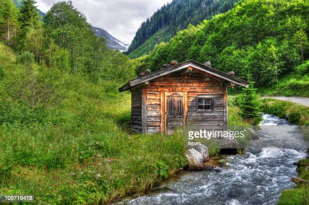 HDR of Barn in alpine river landscape (Austria)