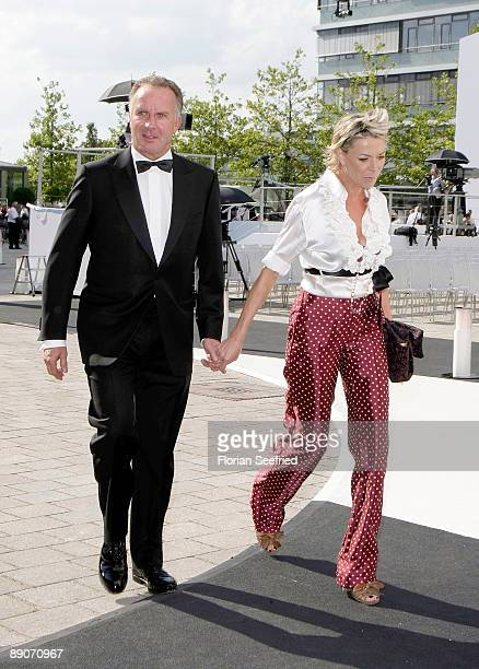 Of Bayern Muenchen, Karl Heinz Rummenigge, and wife Martina attend the Audi centennial celebration at Audi Forum Ingolstadt on July 16, 2009 in...