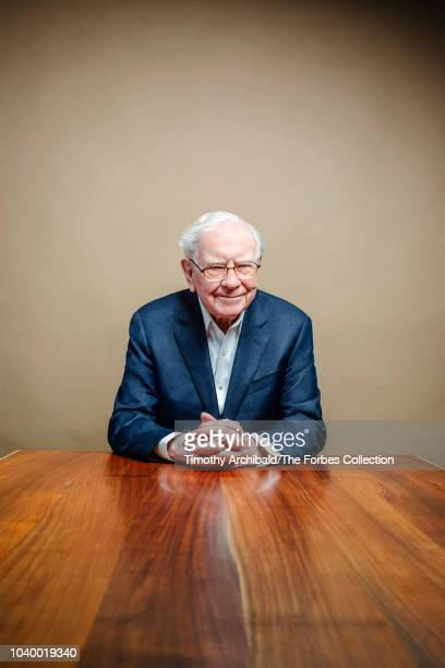 Of Berkshire Hathaway, Warren Buffett is photographed for Forbes Magazine at the Forbes Philanthropy Summit on May 30, 2018 in San Francisco,...