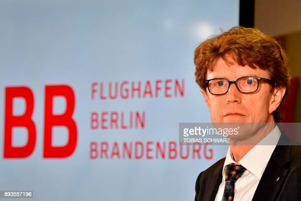 CEO of Berlin Brandenburg Airport Engelbert Luetke Daldrup looks on during a press conference to announce a new date of opening of the Brandenburg...