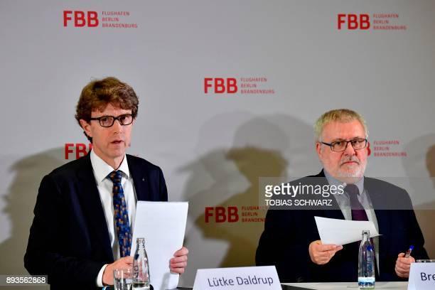 CEO of Berlin Brandenburg Airport Engelbert LuetkeDaldrup and Brandenburg state coordinator for the BER Rainer Bretschneider arrive to give a press...