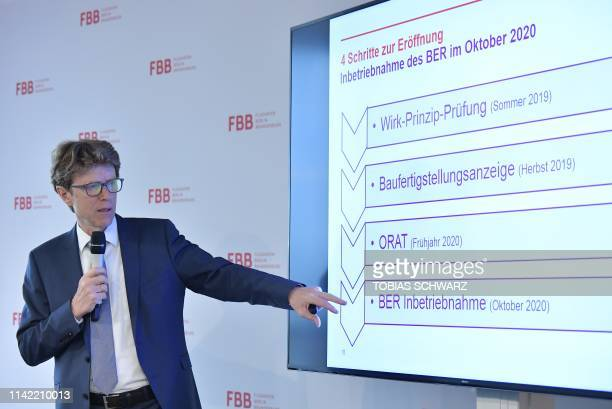 CEO of Berlin Brandenburg Airport Engelbert LuetkeDaldrup gives explanations on the expected construction timetable at the BER Berlin Schoenefeld...