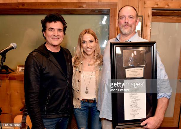 Of Big Machine Records Scott Borchetta, singer-songwriter Sheryl Crow and John Carter Cash take photos during a special day revealing Sheryl Crow &...