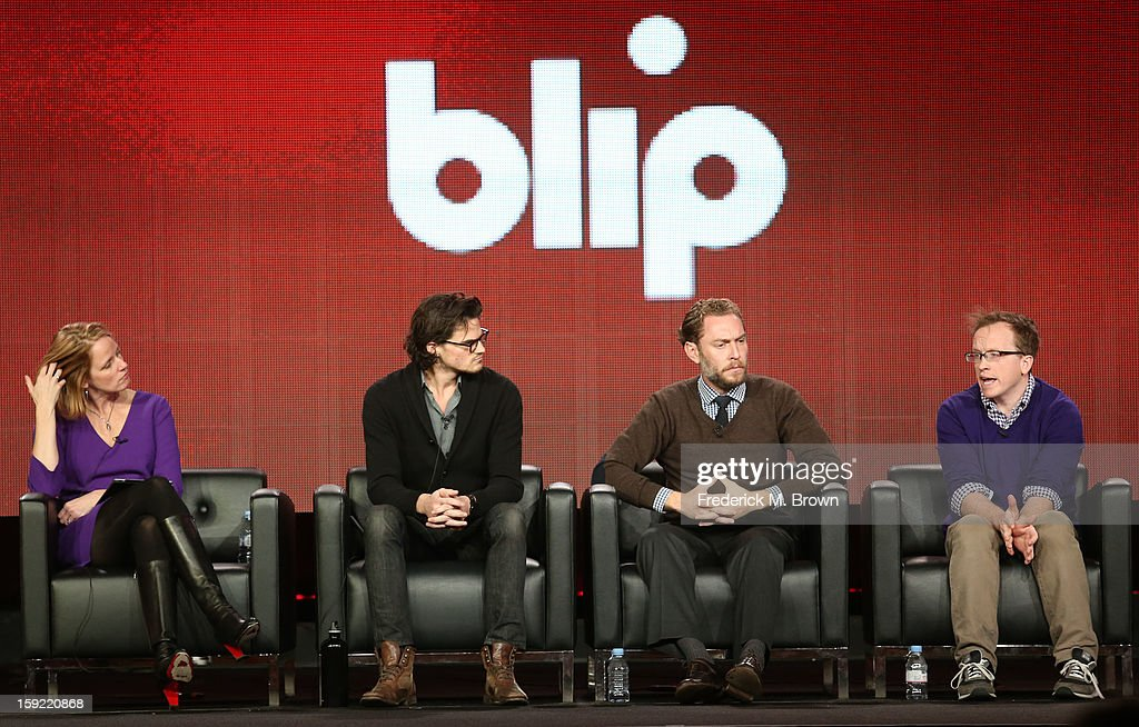 CEO of blip Kelly Day, Julian Smith, Eric C. Spiegelman, and Chris Gethard speak during the blip portion of the 2013 Winter Television Critics Association Press Tour at the Langham Hotel and Spa on January 9, 2013 in Pasadena, California.