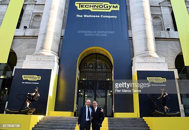 CEO of Borsa Italiana Raffaele Jerusalmi and Nerio Alessandri attend the Technogym Listing Ceremony at Palazzo Mezzanotte on May 3 2016 in Milan...