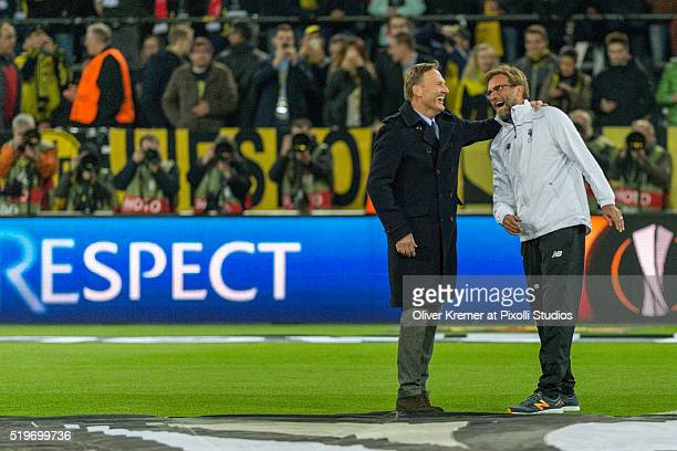 CEO of Borussia Dortmund Hans Joachim Watzke welcomes Head coach and Manager Juergen Klopp of FC Liverpool at Signal Iduna Park during the UEFA...