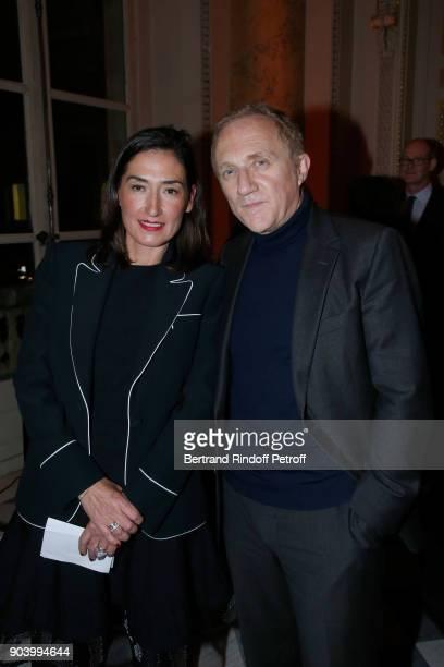 CEO of 'Boucheron' Helene PoulitDuquesne and CEO of Kering Group FrancoisHenri Pinault attend the Vendorama Exhibition as Boucheron Celebrates its...