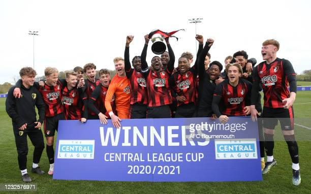 Of Bournemouths players celebrate winning the Central League Cup Final between Bournemouth U21 v Carlisle U21 at the end of the match at St Georges...