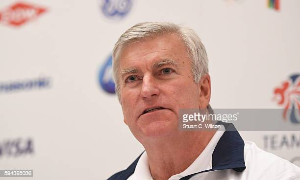 CEO of British Olympic Association Bill Sweeney speaks to journalists during the Team GB press conference at the Sofitel Heathrow Airport on August...