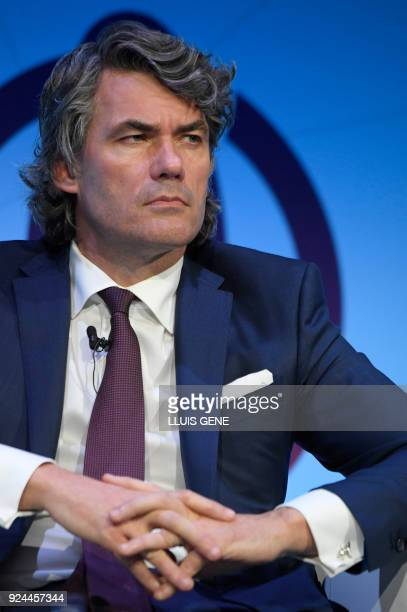 CEO of BT Group British marketer Gavin Patterson gives a speech on the first day of the Mobile World Congress on February 26 2018 in Barcelona The...