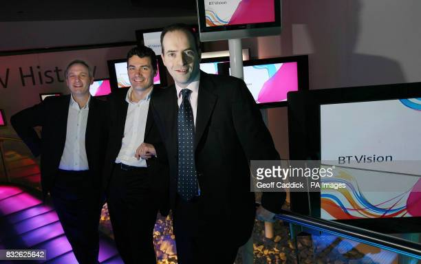 CEO of BT Vision Dan Marks Gavin Patterson MD of Consumer BT Retail and Ian Livingston CEO of BT Retail during the launch of BT's nextgeneration TV...