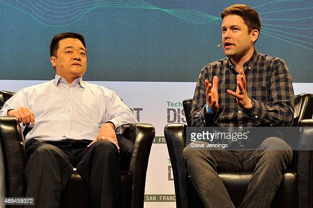 CEO of BTC China Bobby Lee and reporter Nathaniel Popper of The New York Times speak onstage during day one of TechCrunch Disrupt SF 2015 at Pier 70...