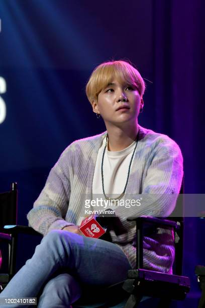 SUGA of BTS onstage at iHeartRadio LIVE with BTS presented by HOT TOPIC at iHeartRadio Theater on January 27 2020 in Burbank California