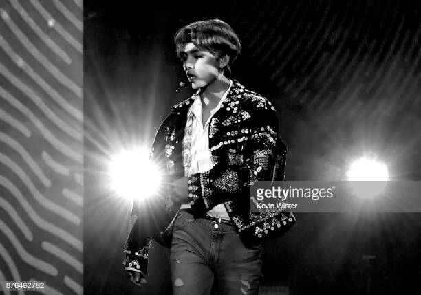 V of BTS performs onstage during the 2017 American Music Awards at Microsoft Theater on November 19 2017 in Los Angeles California