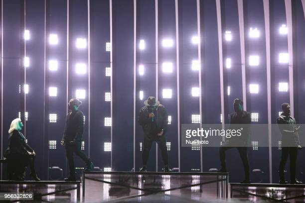 EQUINOX of Bulgaria performs during the first semifinal of the 2018 Eurovision Song Contest at the Altice Arena in Lisbon Portugal on May 8 2018