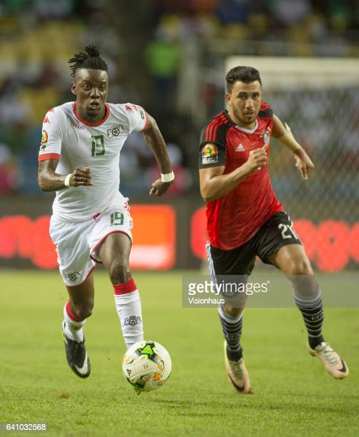 TRAORE of Burkina Faso and MAHMOUD AHMED IBRAHIM HASSAN of Egypt during the semifinal match between Burkina Faso and Egypt at Stade de L'Amitie on...