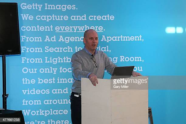 SVP of Business Development Marketing and Content Craig Peters speaks to bloggers to announce new Getty Images Innovations at Getty House during...