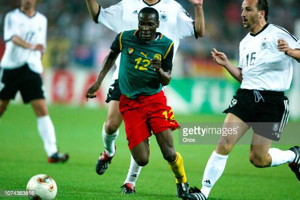LAUREN of Cameroon/ Jens JEREMIES of Germany during the FIFA World Cup match between Cameroon and Germany on June 11 2002 in Ecopa de Shizuoka...