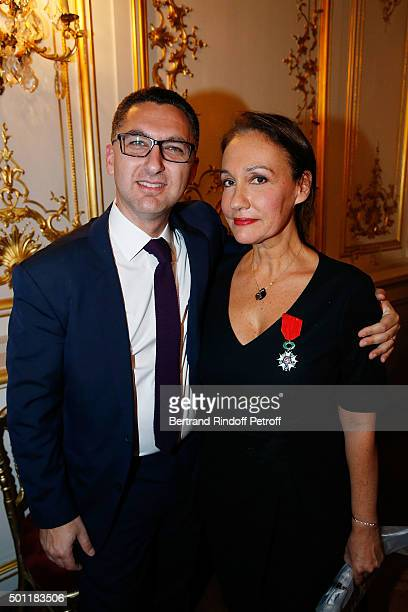 CEO of Canal Plus Maxime Saada and Laurence Haim at Laurence Haim Is Honoured With The Insignes De Chevalier De La Legion D'Honneur at Salons...