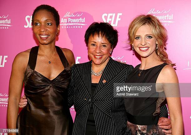 CEO of CARE Helene Gayle Sheila Johnson and Sarah Michelle Gellar attend SELF Magazine's celebration for cover model and CARE ambassador Gellar held...