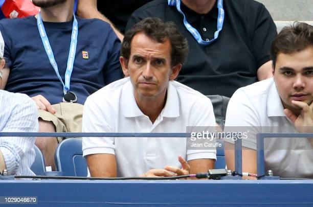 CEO of Carrefour Alexandre Bompard attends the men's semifinals on day 12 of the 2018 tennis US Open on Arthur Ashe stadium at the USTA Billie Jean...