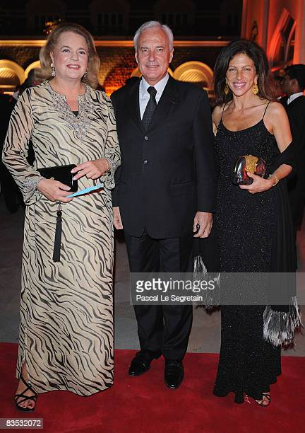 CEO of Cartier International Bernard Fornas poses with Ira Von furstenberg and Clio Goldsmith as they attend the Gala Dinner of the Cartier 'Travel...