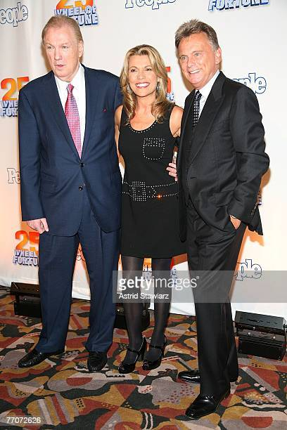 CEO of CBS Television Distribution Roger King Vanna White and Pat Sajak attend the 25th anniversary celebration of the television game show Wheel Of...