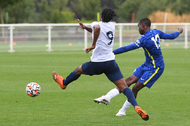 Of Chelsea during the Tottenham Hotspur v Chelsea U18 Premier League match at Tottenham Hotspur Training Centre on August 21, 2021 in Enfield,...
