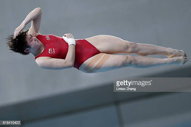 of China competes in the Women's 10m Synchro Final during day three of the FINA/NVC Diving World Series 2016 Beijing Station at the National aquatics...