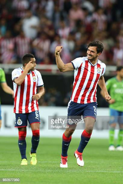 of Chivas celebrate with teammates after scoring the first goal of his team during the quarterfinals second leg match between Chivas and Seattle...