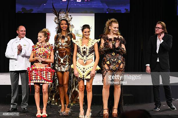 CEO of Chocolaterie Puyricard Tanguy Roelandts Victoria Monfort Flora Coquerel Nubia Esteban Anca Radici and designer Benjamin Bout walk the runway...