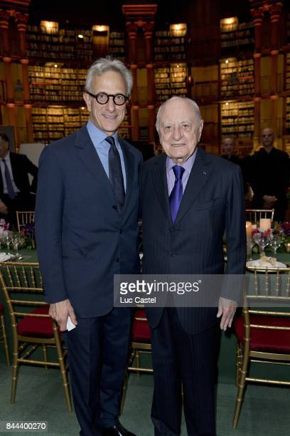CEO of Christie's France Francois de Ricqles and Pierre Berge attend the 'Diner des Amis de la BnF' at the Bibliotheque Nationale de France on June...