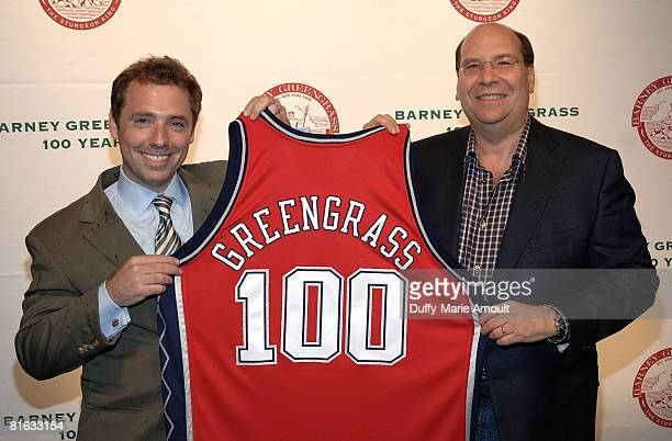 VP of Communications Brooklyn Sports and Entertainment Barry Baum and Gary Greengrass attend Barney Greengrass' celebration of 100 Years on June 18...