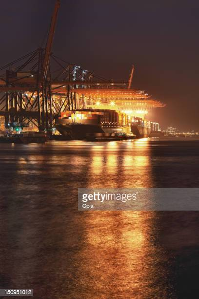 hdr of container terminal by night - south holland stock pictures, royalty-free photos & images